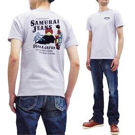 サムライジーンズ Tシャツ SJST20-108 和柄 芸者 x 富士山 メンズ 半袖tee アイスグレー 新品