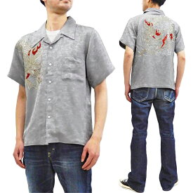 花旅楽団 龍刺繍 ジャガードシャツ SS-003 メンズ レーヨン 和柄 半袖シャツ グレー 新品
