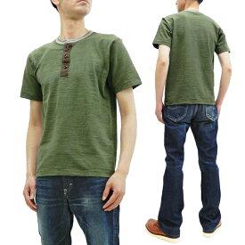 バズリクソンズ Tシャツ BR78770 メンズ 無地 ヘンリーネック スラブ 半袖Tシャツ オリーブ 新品