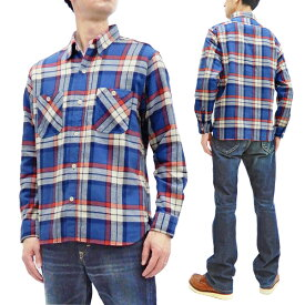 シュガーケーン 長袖シャツ SC28742 Sugar Cane メンズ ツイル チェック ワークシャツ 125ブルー×オフ 新品