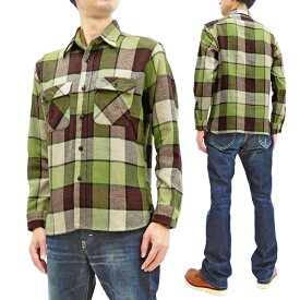 シュガーケーン 長袖シャツ SC28752 Sugar Cane フィクションロマンス メンズ チェック ネルシャツ ワークシャツ 145グリーン 新品