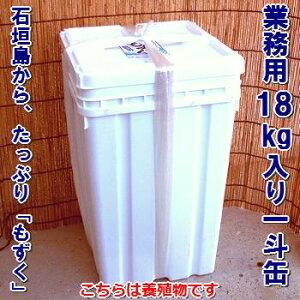 石垣島もずく・業務用一斗缶養殖物18kg入、送料無料シャキシャキタイプ2021年の新もずくです!塩漬け・常温半年OK