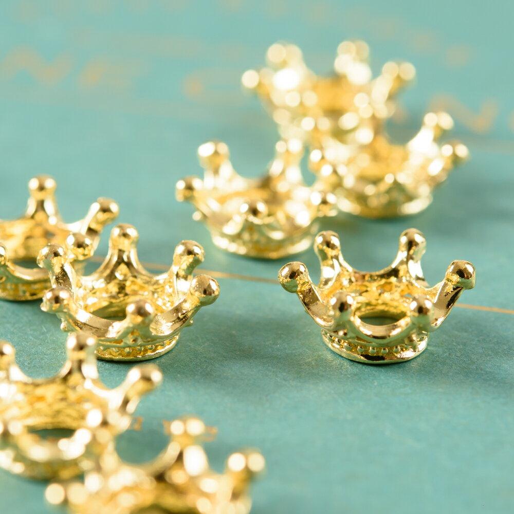 王冠リング型チャーム ゴールド 10個 レジン ブレスレット パーツ ハンドメイド アクセサリーパーツ