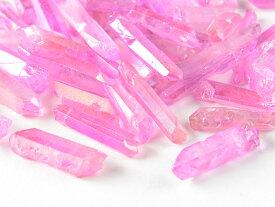 天然水晶 カラークリスタル【ピンク】 20g ポイント水晶 オルゴナイト パーツ レジン UVレジン