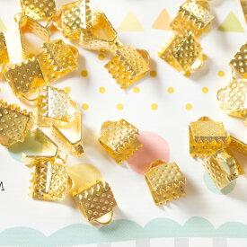 ワニ口 ゴールド 6mm 10個 ハンドメイド 留め具 紐留め アクセサリーパーツ 材料