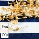 【サージカルステンレス 316L 】5mm ピアス ゴールド 平皿タイプ×ゴールドキャッチセット 100個 (50ペア) 金属アレル…