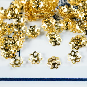 【サージカルステンレス 316L 】座金パーツ 花座 透かしキャップ ゴールド 20個 ハンドメイド アクセサリーパーツ 資材 材料