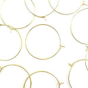 【サージカルステンレス 316L 】フープピアス ゴールド タイプB 20mm 10個(5ペア) ピアス パーツ 金具 アクセサリーパーツ