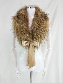 送料無料 中古 フォックス ファー 毛皮 防寒 リボン付き ショール ストール ティペット