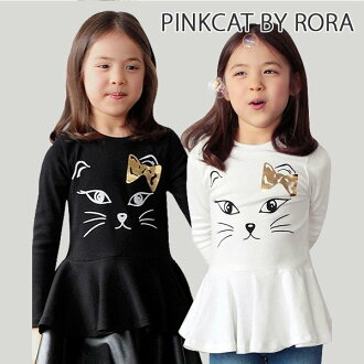 (product size 110cm that there is reason in) children's clothes Rora Katia hem frill tunic t(2color) tunic kids mini-length dress child black and white Ron T T-shirt long sleeves cat pattern children's clothes children child black white fashion print T f