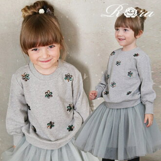 Children's clothes Rora Louise sweat shirt youth child child casual adult-like sweat shirt tops trainer gray fashion suite coordinates clothes cotton 100% of pretty bijou girl kids women 90 100 110 120 130 140