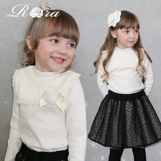 Ribbon frill fashion in the fall and winter nostalgic child clothes 90-140cm of the Zichang sleeve tops race kids four circle woman of the children's clothes Rora Mio long sleeves cut-and-sew (ribbon broach set) entering a kindergarten graduation entranc