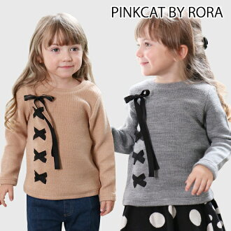Zichang sleeve cute clothes ribbon 90 100 110 120 130 140cm of the children's clothes Rora ニニカニット T (2color) kids Shin pull knit gray tops fashion woman
