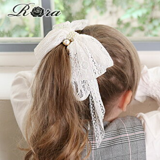 Rora Manon Hairtie ponytail holder kids girls white lace pearl formal bow accessory