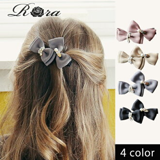 Children's clothes Rora Losey barrette (4color) Seven-Five-Three Festival wedding ceremony presentation child pearl four circle handmade hairpin pink black beige gray of the kids barrette child ribbon hair accessories hair ornament woman going out