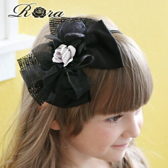 Rora Rosy Headband big bow black fancy mysterious hair accessory flower hair corsage black white