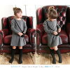 The modern Shin pull fashion outing dress red red gray charcoal which dress long sleeves long sleeves dress 90 100 110 120 130 140 with the child pocket of the children's clothes Rora シャネリアワンピース (2color) children's clothes kids woman has a cute