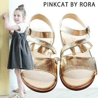 Child sandals frill four circle refined flat sandals gold child sandals of the children's clothes Rora goal D sandals kids woman