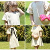 (product size 110cm that there is reason in) children's clothes Rora ナチューラワンピース (2color) linen dress きれいめ child short sleeves dress pretty plain long length dress stylish natural pair sisters summer clothes red beige red