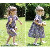 90 100 110 120 130 140 flare sleeves that a softly nostalgic fashion adult pretty in the summer is natural long short sleeves like the child purple dress child dress floral design love of the children's clothes Rora pansy dress woman-like