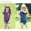 Child clothes cut-and-sew t shirt casual frill cotton purple charcoal Shin pull plain fabric of the child 90 100 110 120 130 140 kids summer clothes woman of the children's clothes Rora vintage sloppy short-sleeved t shirt (2color) child tops short sleev