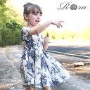 子供服Rora ペルル ワンピース 女の子 半袖 ワンピース リゾート 海 アウトドア 夏ワンピース お洒落 花柄 総柄 上品 …