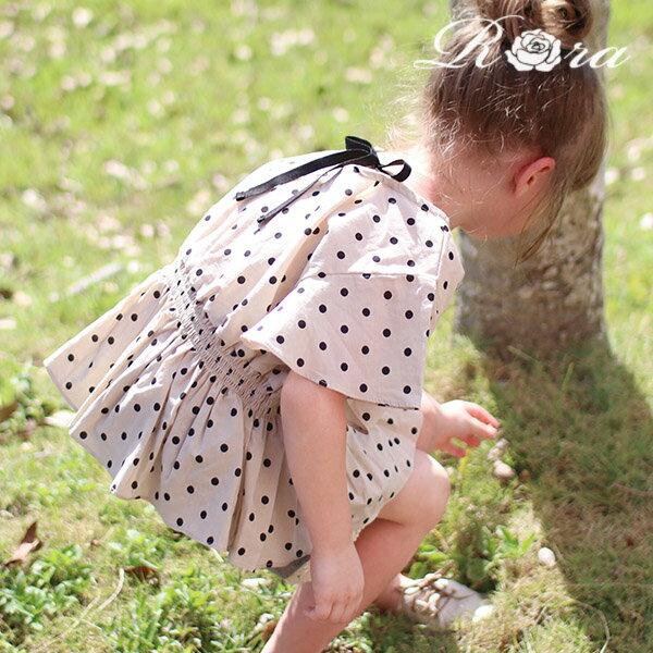 子供服Rora ロッサ ブラウス ドット柄 水玉 ブラウス リボン フリル リボン トップス キッズ 子供服 女の子 カジュアル ナチュラル 90cm 100cm 110cm 120cm 130cm 140cm ベージュ 春 夏 可愛い 大人っぽい