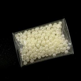 パールストーン半球3mm(約300個入:約2g)/ラインストーンブリオンプラスチックアクリル半円半丸ホワイトクリーム色ジェルネイルレジン封入アクセサリーパーツ装飾【クロネコDM便対応】