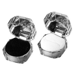 【訳あり品】アクセサリーケース リングボックス 選べる2色 ブラック・ホワイト / リングケース アクセサリー収納 ラッピング ギフトボックス BOX gift クリアケース ポリゴン 指輪保管【宅配