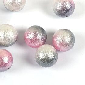 アクリルビーズ12mm(5個入)メタリックツートンカラー(ピンク+グレー)球形片穴タイプ(穴1.0mm)/樹脂ビーズ手芸プラビーズスペーサーメタリッククラフトハンドメイド材料【ゆうパケット対応】
