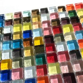 ガラスタイルカラフルミックス10mm×10mm×4mm(784個入)/お得ガラスモザイクタイル装飾パーツキャンディーカラーゴールドカラークリアカラークラフトデコパーツ貼り付けパーツハンドメイド材料【ゆうパケット対応】