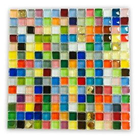 ガラスタイル カラフルミックス 10mm×10mm×4mm (196個入)/ ガラスモザイクタイル 装飾パーツ キャンディーカラー ゴールドカラー クリアカラー クラフト たいる デコパーツ 貼り付けパーツ ハンドメイド材料 【ゆうパケット対応】
