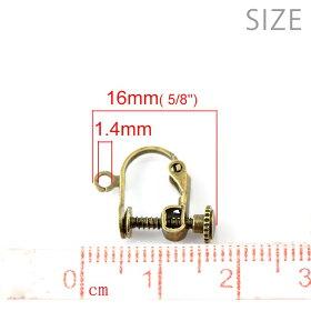 ネジバネ式イヤリング銀メッキ約9×14mm(1ペア入)/パーツカン付きシルバーカラー銀色【ゆうパケット対応】