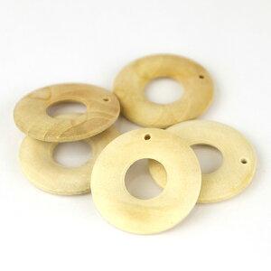5個入 30×5mm ナチュラルウッドチャーム ドーナツ 穴1.5mm / 木製チャーム 木のチャーム 無垢 木目 天然 輪っか ドーナツ型 わっか 玉 ハンドメイド資材【ゆうパケット対応】