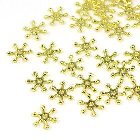 約12mm×11mm20個入メタルビーズ雪の結晶ゴールド穴約1mm/銀クリスマスxmasアクセサリースノーフレークスペーサーハンドメイド材料【ゆうパケット対応】