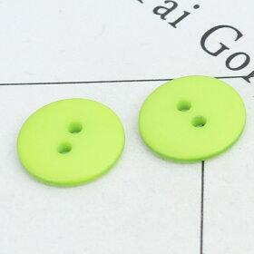 直径約15mm20個入樹脂ボタン円形2つ穴グリーン穴2.1mm/シンプル手芸縫製ぼたん二つ穴ハンドメイド材料【ゆうパケット対応】