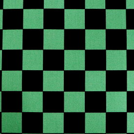 市松模様 模様サイズM 40mm 黒×緑 幅110cm 長さ10cm オックス生地 / 布 綿100% チェック柄 グリーン ミドリ クロ ブラック 手作り ハンドメイド材料 資材 【ゆうパケット対応】