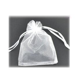 オーガンジー巾着袋 ホワイト 12×9cm(5枚入)/ ラッピング用品 半透明 プレゼント用品 店舗備品 保管用 白色【ゆうパケット対応】