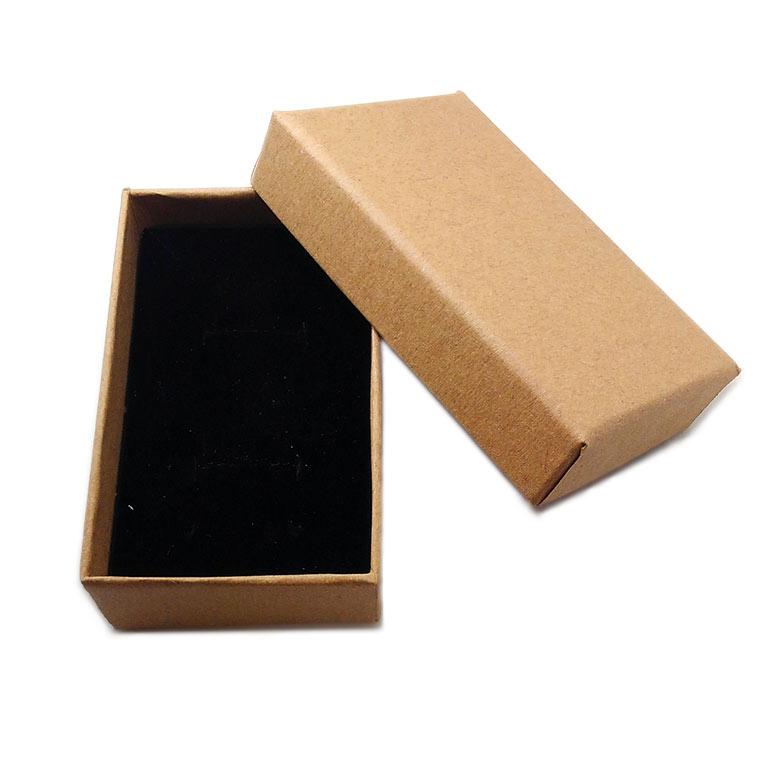 ギフトボックス スポンジ付き ナチュラル 約81×50×26mm (1個入)/アクセサリーケース ジュエリーボックス クラフトボックス 紙 箱 小箱  ラッピング 材料 備品