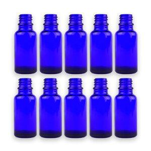 20ml 10本セット 遮光瓶 青色 ドロッパー付 28mm×70.5mm Φ10.5mm / 遮光ビン ガラスボトル ガラス製 保存用 ブルー アロマオイル エッセンシャルオイル 精油 蓋付 ガラス瓶 キャリアオイル フレグラ