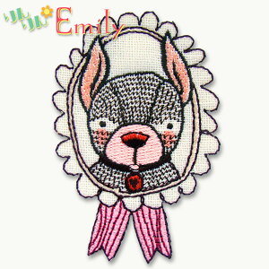 ワッペン(ILLUSTRATION/フレンチブルドッグ・犬) アイロン接着OK イラストちっくな動物のかわいいワッペン&アップリケ