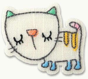 ILLUSTRATION動物・ねこ猫 アイロン接着ワッペン イラストちっくな動物のかわいいアップリケ