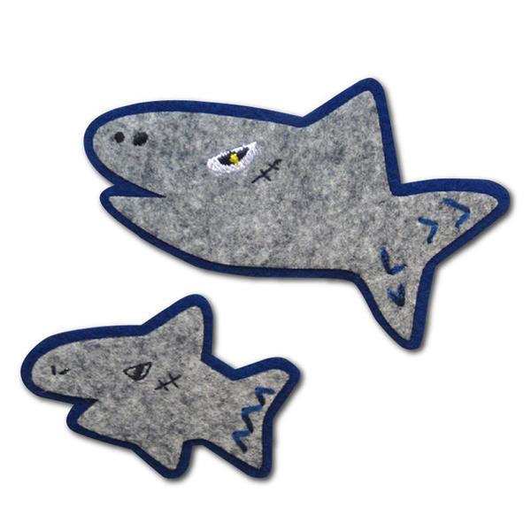 【ぽんめのこ】いつでもワッペン サメの親子ぬいつけワッペン