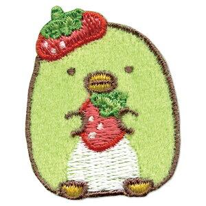 【Sumikko gurashi】すみっコぐらし ワッペン いちご「ぺんぎん?」アイロン・シール両用タイプ