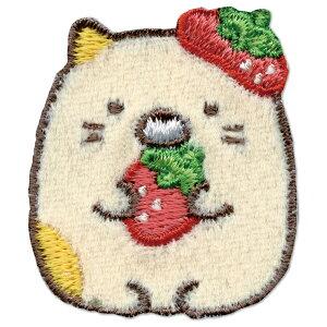 【Sumikko gurashi】すみっコぐらし ワッペン いちご「ねこ」アイロン・シール両用タイプ