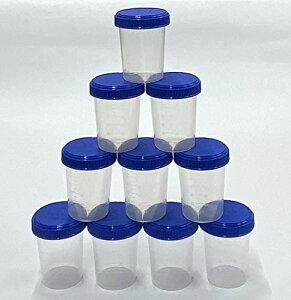JPD 【10個セット】120ml サンプルボトル プラスチック PP 半透明 広口 スクリューキャップ 目盛付き ラベルシール 12枚付き 液体 個体 粉末 JPD(J Product Design) 日本製 (ブルーフタ)