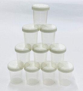 JPD 【10個セット】120ml サンプルボトル プラスチック PP 半透明 広口 スクリューキャップ 目盛付き ラベルシール 12枚付き 液体 個体 粉末 JPD(J Product Design) 日本製 (ホワイト/クリア)