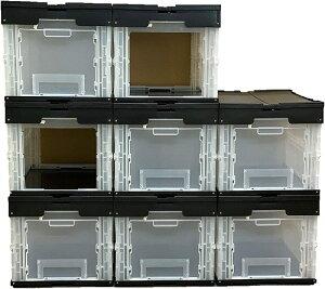 松本産業 コンテナ 折りたたみコンテナ フタ付き 前後2面扉付き 50L ブラック/クリア 8個セット (DWF50BLC/8個) カードホルダー付き コンテナボックス 収納 ボックス オリコン