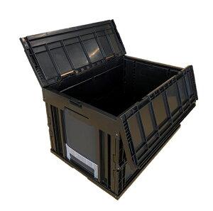 松本産業 業務用 オリコン 折りたたみコンテナ 50L ブラック (F50BL) フタ一体型 カード差し付き