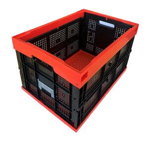 松本産業 業務用折りたたみコンテナ 50L レッド/ブラック 網目 (50ARBL) カード差し付き